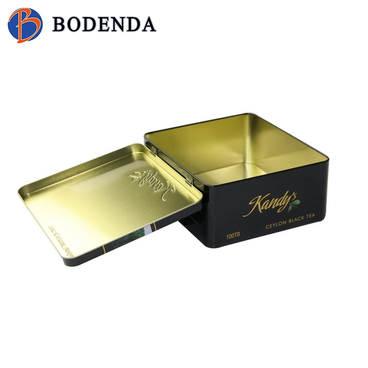 Gold supplier wholesales airtight round metal tea tin with hinge