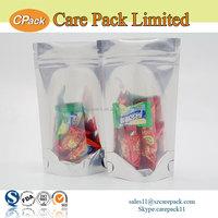 Customized plastic ziplock clear silver heat seal mylar bags