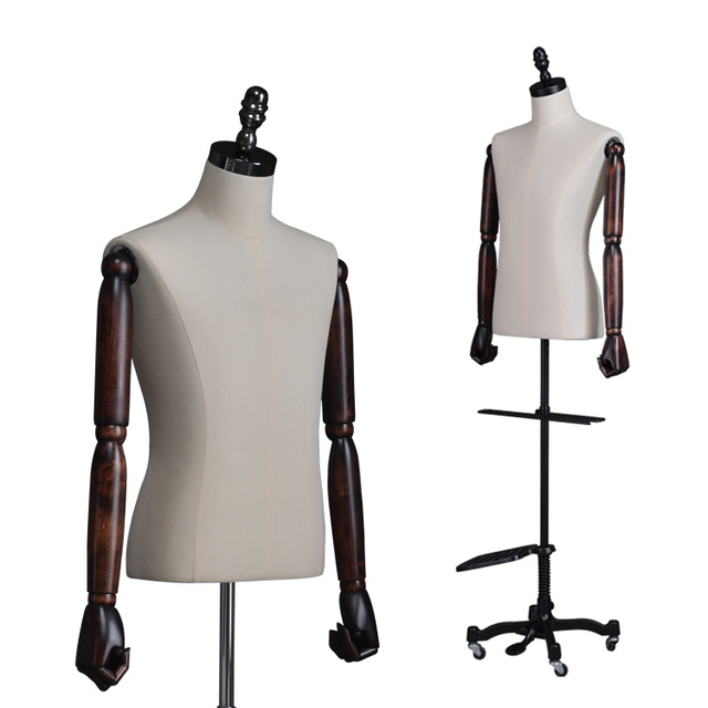 half scale size upper body bust male dress form or mannequin covered fabric torso with adjustable wooden arm