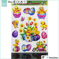 Easter decor transparent PVC flower window clings