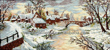 Chefoo embroidered tapestry hand stitched cottage snow scenery woolen needlepoint textile wall hanging crafts made in Yantai