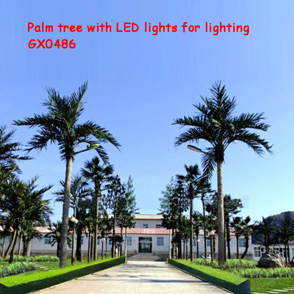 artificial beautiful palm tree with LED light streetlight up tree road light up tree