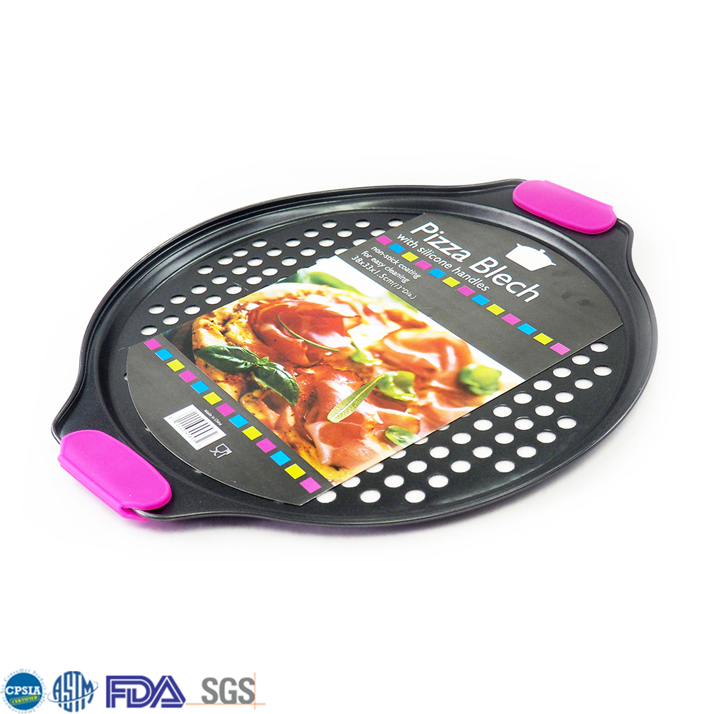 New Design Black Carbon Steel Pizza Cooking Pan