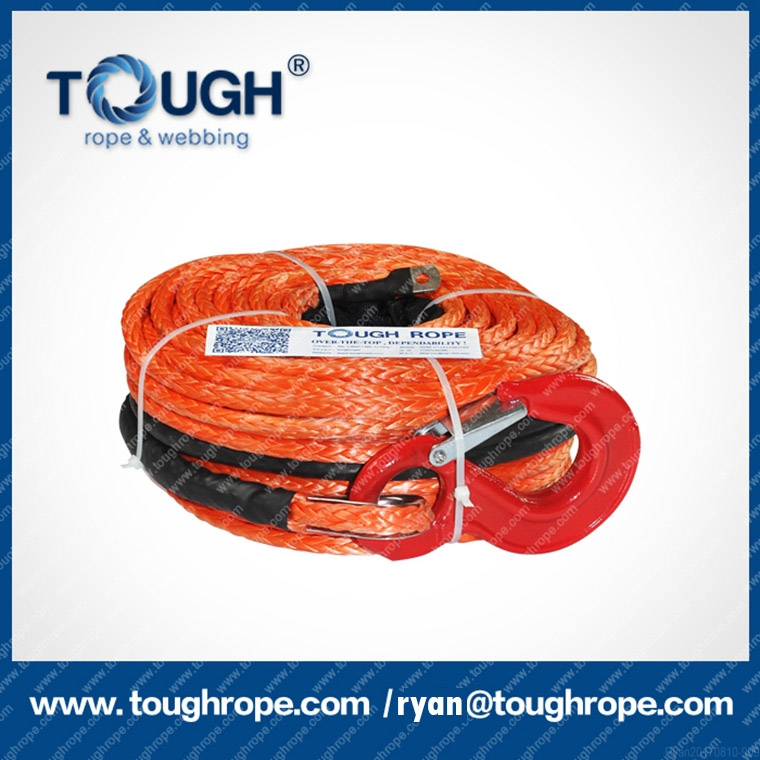 UHMWPE fiber braided rope with hook thimble sleeve for auto towing winch 4wd recovery accessories 12 volt winch