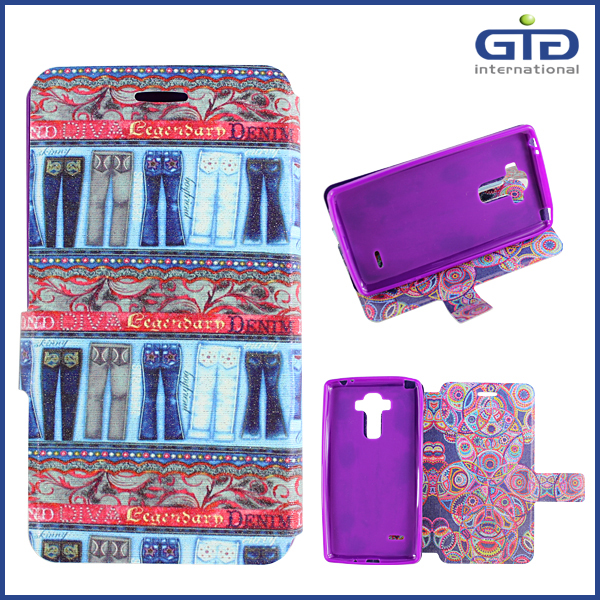 Painting PU Case with Two Designs with Glitter for LG G4 Stylus