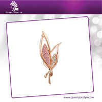 New Design Costume Leaf Shape Brooch Bouquet with Pink and white Crystal Jewelry