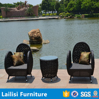 3-Piece Outdoor Wicker Patio Set with 2 Chairs and 1 Table