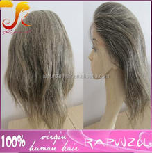 New Fashion custom mix gray Cheap short Silky Straight glueless wig grey Brazilian human hair full lace wig