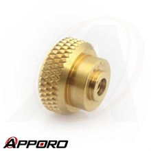 APPORO CNC Lathe Turning Part Manufacturer Free Cutting Brass Control Knob Knurled Nut Cap