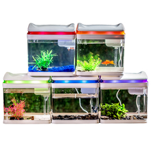 Wholesale 5 colors USB Desktop Led Lighting Mini Portable Acrylic Fish Tank Aquarium