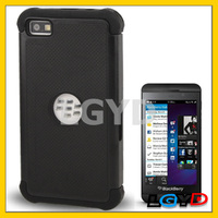 High quality mobile phone cover 2 in 1 (Plastic + Silicon) Protection Case for for Blackberry Z10 (Black)