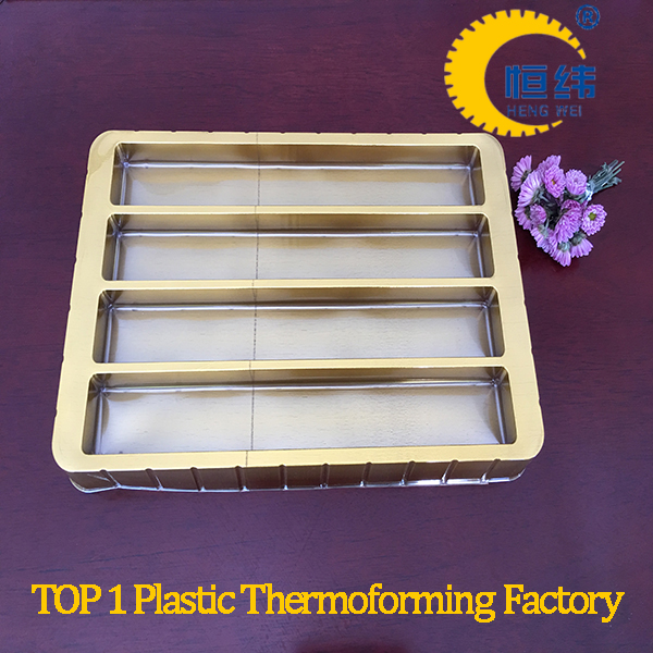 Free sample plastic food compartment tray with gold color