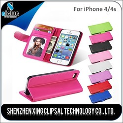 New !!! Cheap Credit Card Slot PU Wallet Leather Phone Case for iPhone 4 4s