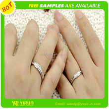 Hot sale top quality silver couple ring crystal latest silver ring design