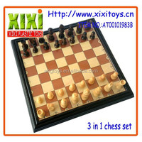 3 In 1 carving personalized antique wood chinese chess set