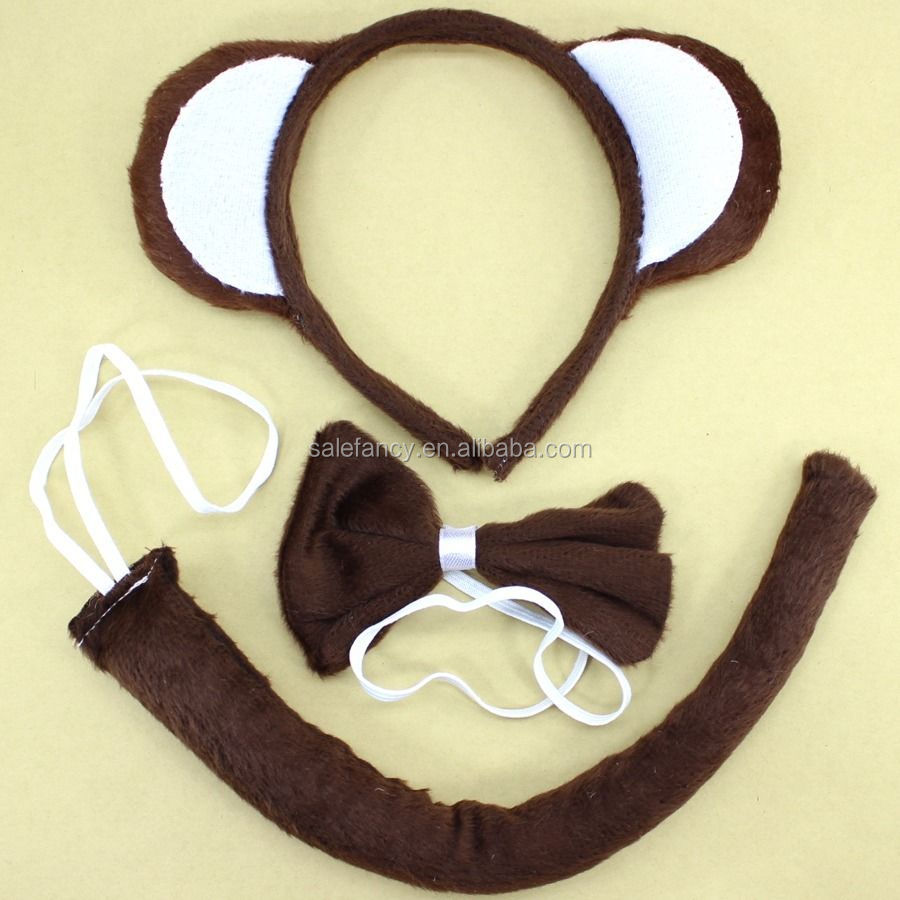 Animal Ears and tail set party Headband headgear Hair Pin Monkey 3pc Set Headband Tie Tail QHBD-8138
