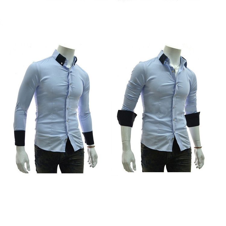 Special offer Spring Fashion mens Solid Color Blouse Rib Stitching Slim shirts
