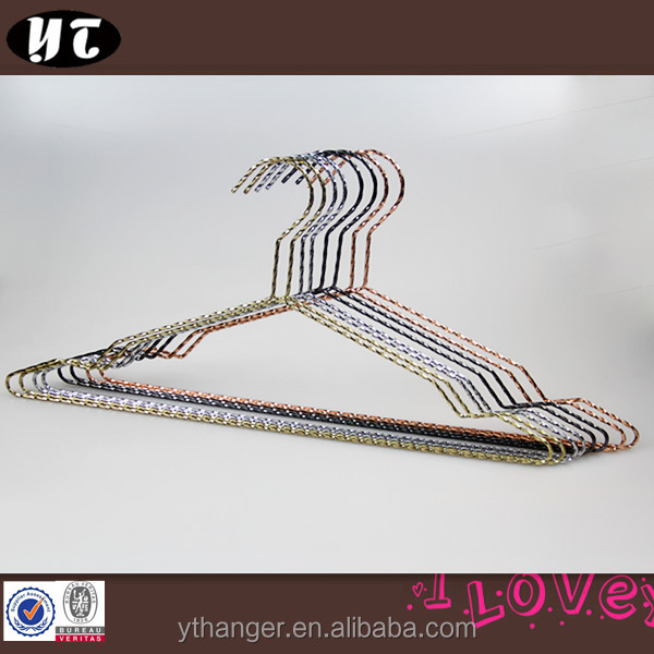 colorful shiny thin metal wire hanger for clothes