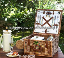 willow picnic hamper with cutlery,plates and cooler pass DGCCRF AND REACH TEST