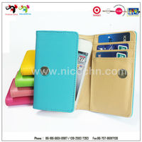 Blue leather mobile phone case cover card holder wallet for iphone 6