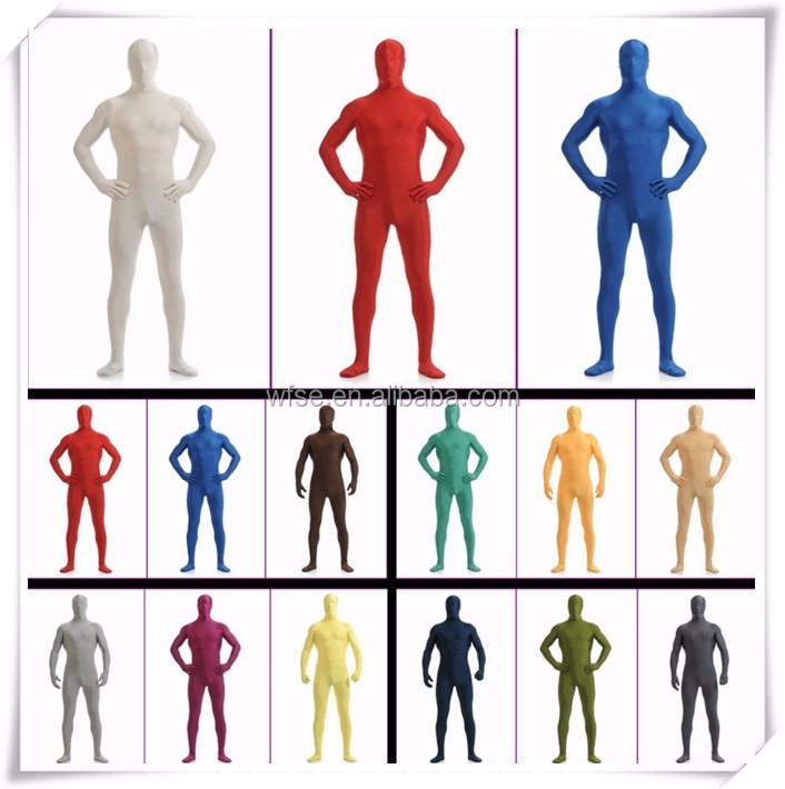 Multi Color Green Spandex Lycra Fullbody Zentai Art Suits Cover Head Hand Foot Morph Costumes