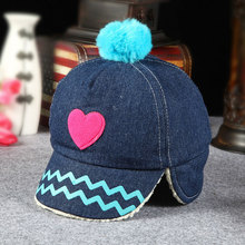 Top Quality Baby Girls Boys Winter Warm Fitted Hats Cap With Earflaps Lovely Denim Baseball Cap Wholesale