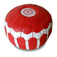 Pouffe leather red & white