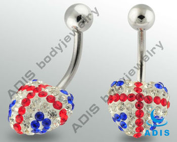 Fashion Flag Color Heart-shaped Belly Piercing Jewelry