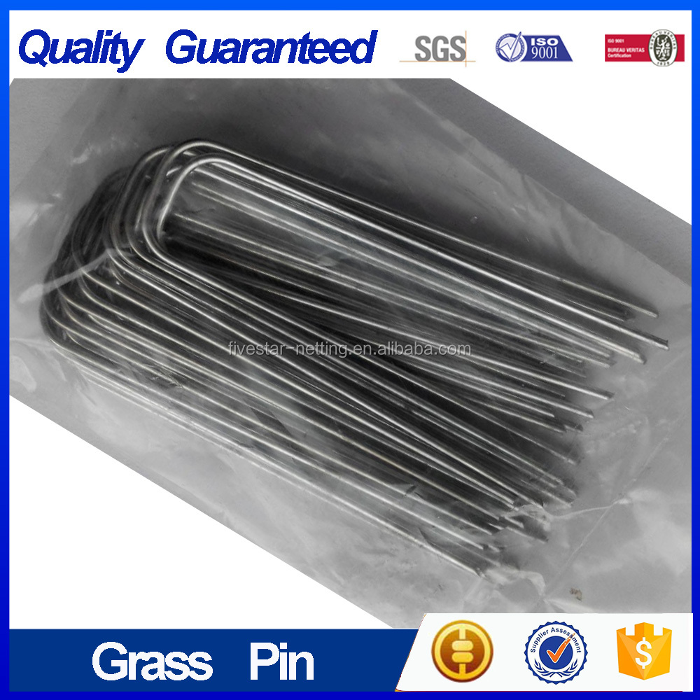 Galvanized 12GA sod staples, U pin