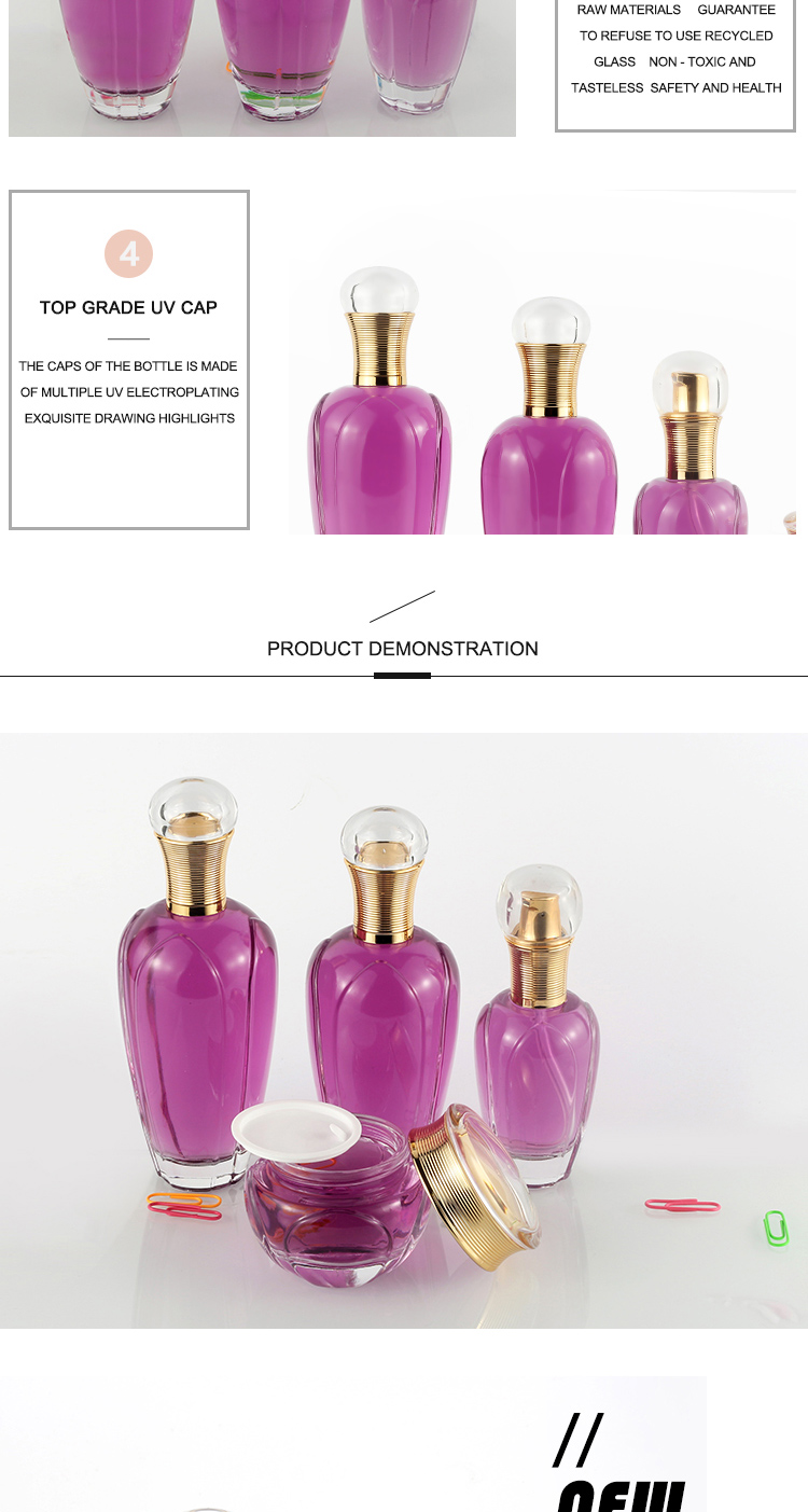 Hot sale new style cosmetic face cream toner emulsion essence bowling shape glass bottle suite