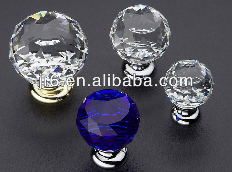 2015New Arrival Blue Octagonal Crystal Drawer Knob