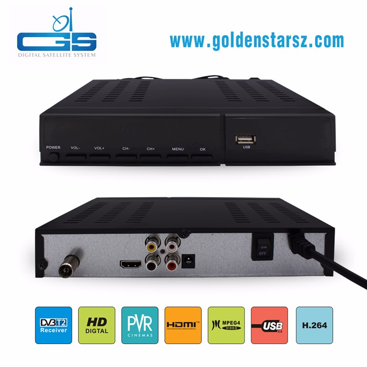 Best selling personal case free to air set top box dvb-t2 with full hd 1080p support EPG and USD PVR
