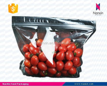 plastic air hole fresh fruit packaging foil bag with zipper