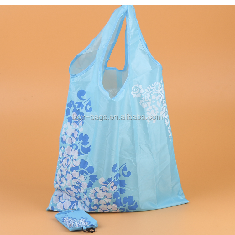 Nylon foldable shopping bag with small pouch