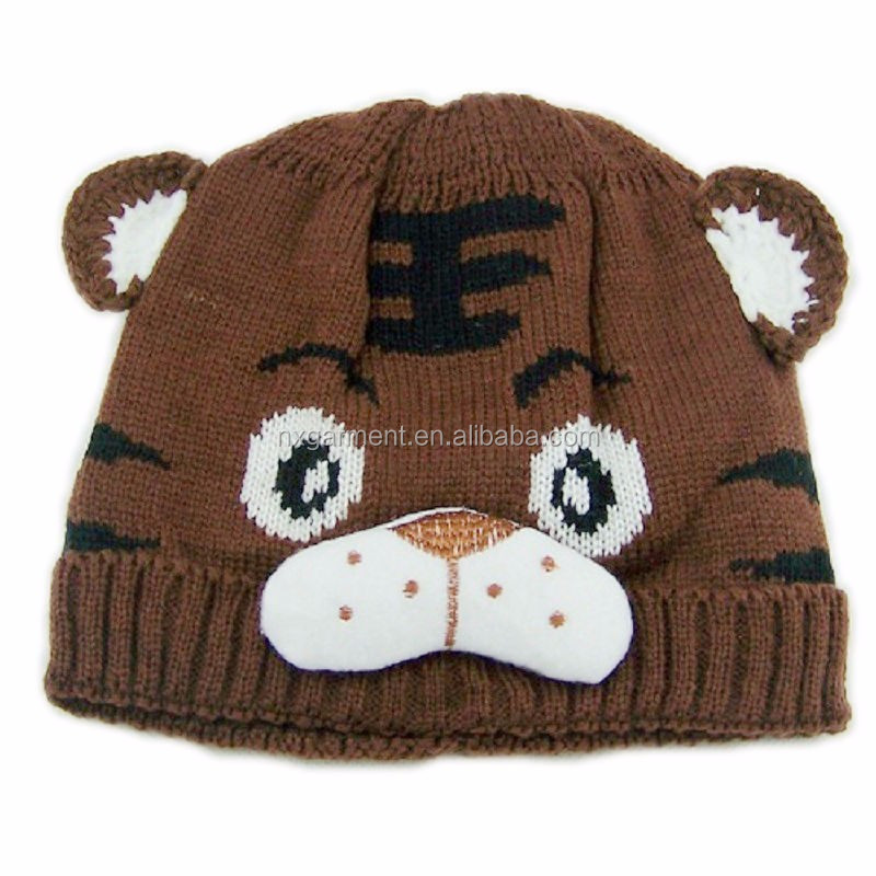 Retail Baby tiger hats crochet hat animal design children tiger beanies infant knitted caps toddler cap