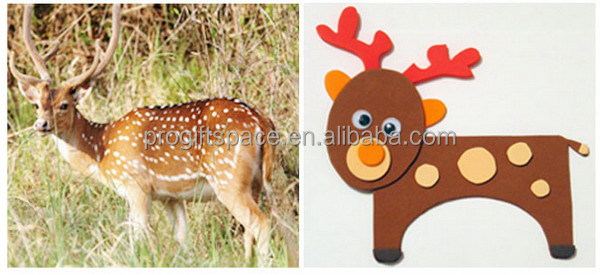2017 new fashion hot sale handmade wholesale cute diy ornaments moving fabric deer felt Christmas plush reindeer made in China