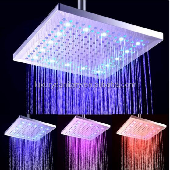good quality 8 inch 20cm abs chrome square rainfall led shower heads