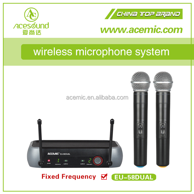 Cheap two channel UHF wireless ktv microphone system EU-58dual china enping manuafacture bodypack for shure