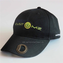 Custom embroidery cotton baseball cap hat with round bottle opener