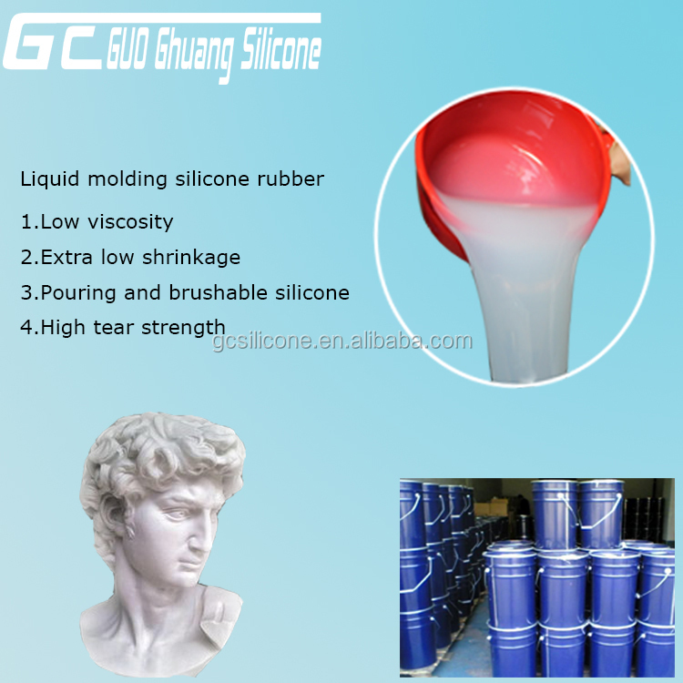 Free curing agent rtv-2 liquid silicone for cement statue mold making