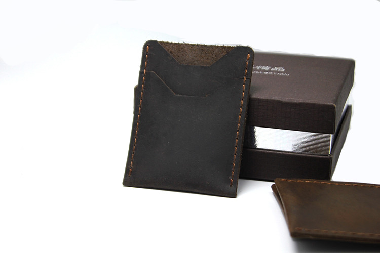 km8025 Minimal Creazy Horse Leather Handmade Card Holder for Men