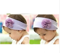 Korean Fashion Baby Girl Infant Dots Flower Hairband Wide Cotton Elastic Headband For Wholesale Girls Hairwear HA81206-49