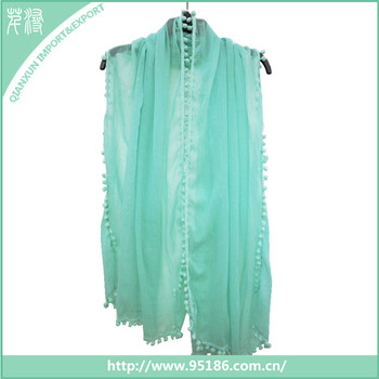 SC-126242 Good quality cotton voile blue custom lady pompom scarf and shawl 2016