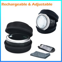 DH-86019 Fashion 4X Bright Adjustable Magnifier , Dome Lens Magnifying Glass Loupe With Led Light Illuminated
