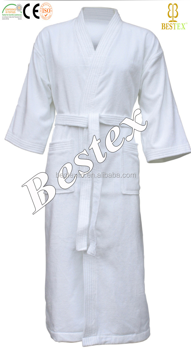 wholesale Luxury Spa White Cotton Velour terry women sleepwear robe