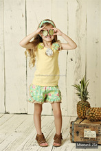 summer baby girls suit kids wear boutique clothes ruffles shorts