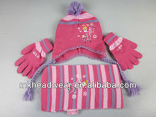 Winter girl machine knitted hat/scarf/glove set with beautiful little girl embroidery