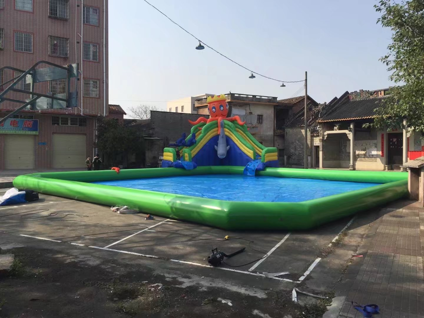Commercial cartoon inflatable slide with theme full printing