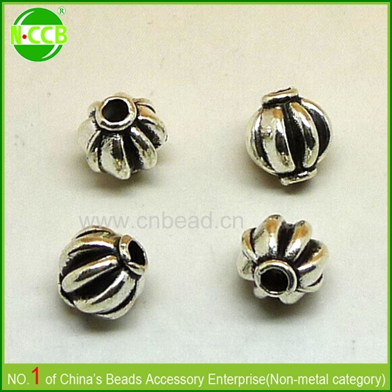 ABS scarf accessory large hole custom engraved metal lantern beads