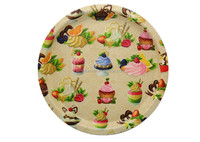 Hot and new design round plastic cake tray,home decoration